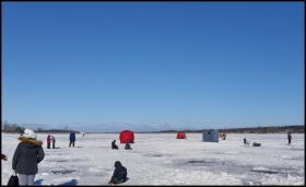Busy family day on Chemong Lake - tents, sheds, and many holes in the ice