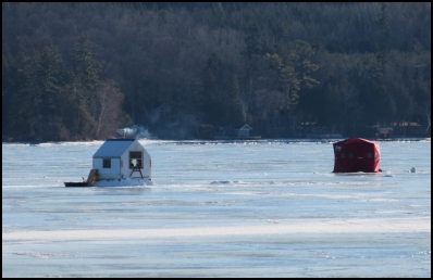 Beside snowmobiling, ice fishing is the most common hobby on the frozen lakes in central Ontario