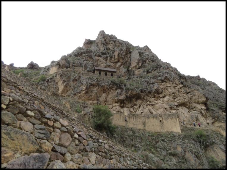 Ollantaytambo - Archaeological park - storehouses qolcas