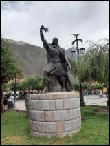 Ollantaytambo - Pachacuti statue, Plaza del Armas