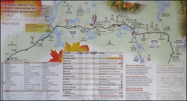 Algonquin park - trail map