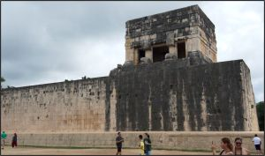Chichen Itza - Great Ball Court - The Upper Temple of the Jaguar,guarded by two, large columns carved in the feathered serpent motif