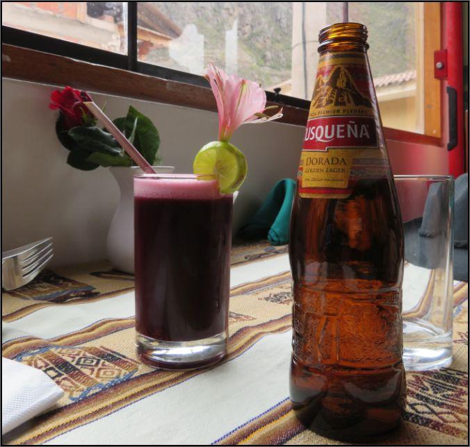 Chicha Morada and Cusquena Beer, Ollantaytambo