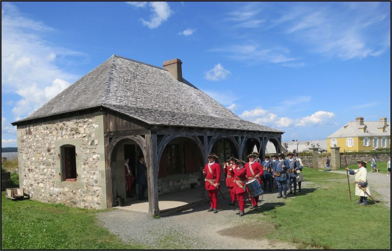 Louisbourg Fortress - changing guards in front of the guardhouse